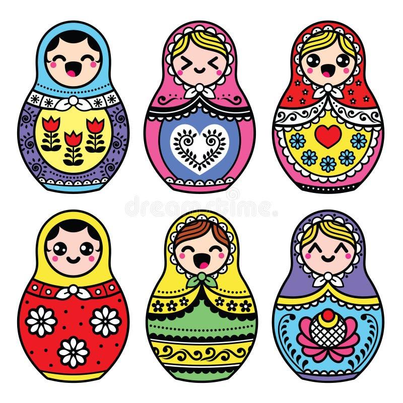 Kawaii gniazdować śliczna Rosyjska lala - Matryoshka ilustracja wektor