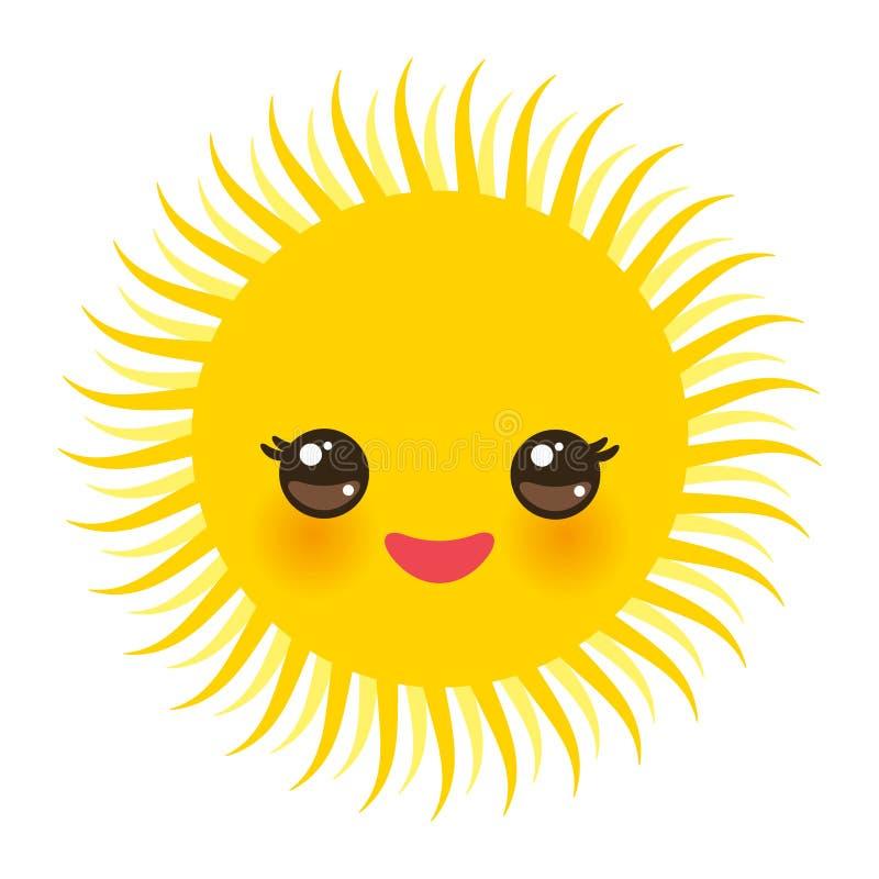 Kawaii grappige gele zon met roze wangen en ogen op witte achtergrond Vector stock illustratie