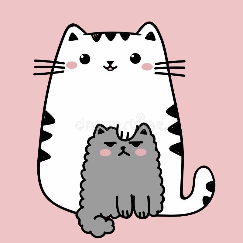 Kawaii gullig fet vit katt som isoleras på en rosa bakgrund Illustration för vektoranimestil vektor illustrationer
