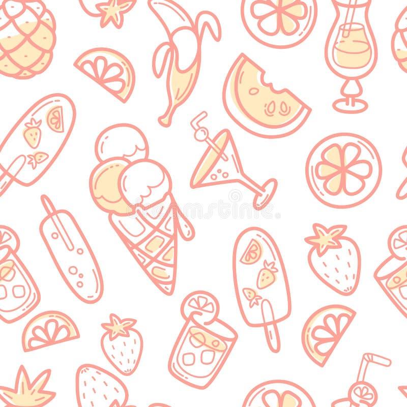 Kawaii gullig sömlös modell med mat, glass, frukter och coctails för sommarsötsak royaltyfri illustrationer
