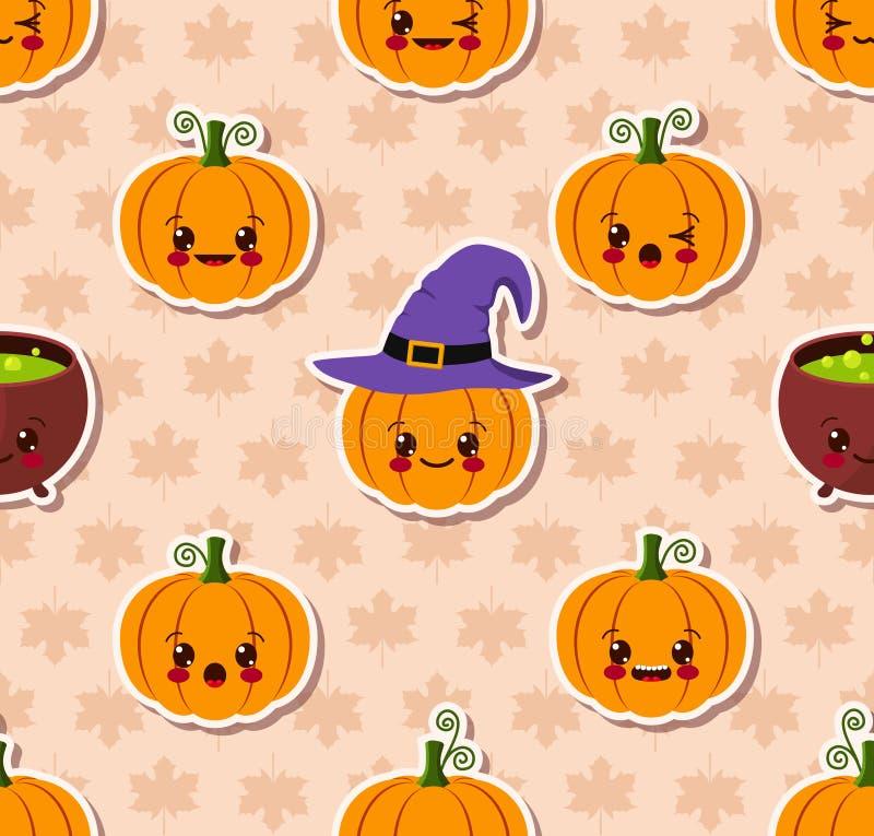 Kawaii Halloween Seamless Pattern Stock Vector - Image: 45209626