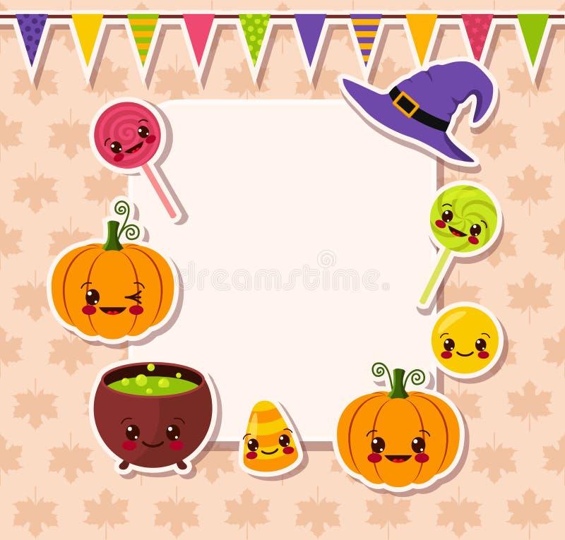 Kawaii Halloween symbols with frame royalty free illustration