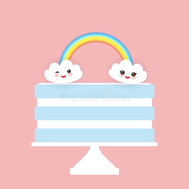 Kawaii Happy Birthday Sweet Strawberry Sky Blue Cake White Cream