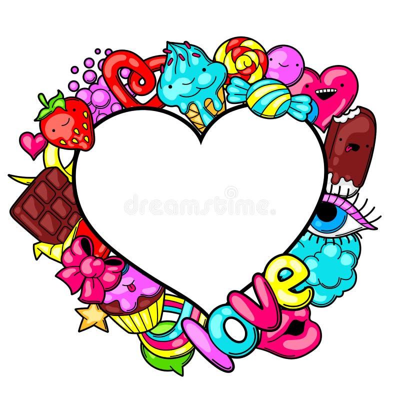 Kawaii-Herzrahmen mit Bonbons und Süßigkeiten Verrücktes Süßmaterial in der Karikaturart lizenzfreie abbildung