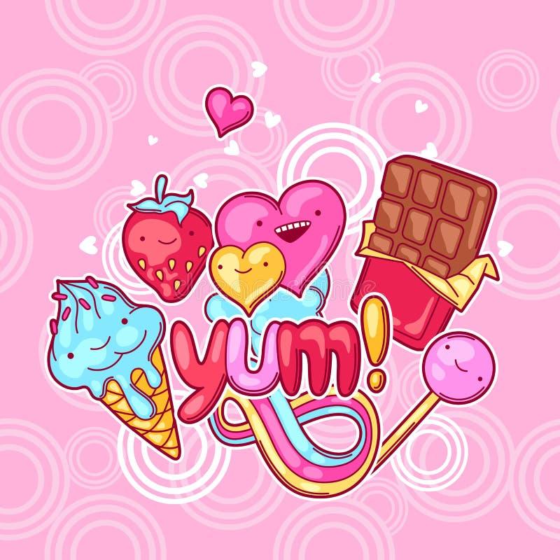 Kawaii-Hintergrund mit Bonbons und Süßigkeiten Verrücktes Süßmaterial in der Karikaturart lizenzfreie abbildung