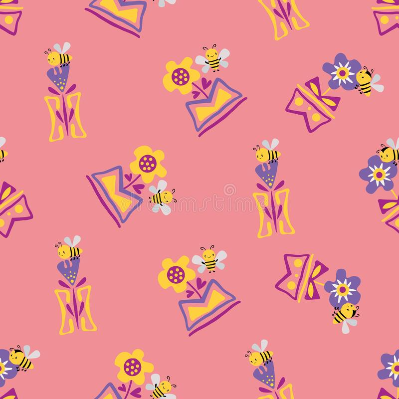 Kawaii honey bee with daffodils and forget-me-not flowers in in aztec motif vase. Seamless vector pattern background. Cute bugs and floral backdrop. Fun pink stock illustration