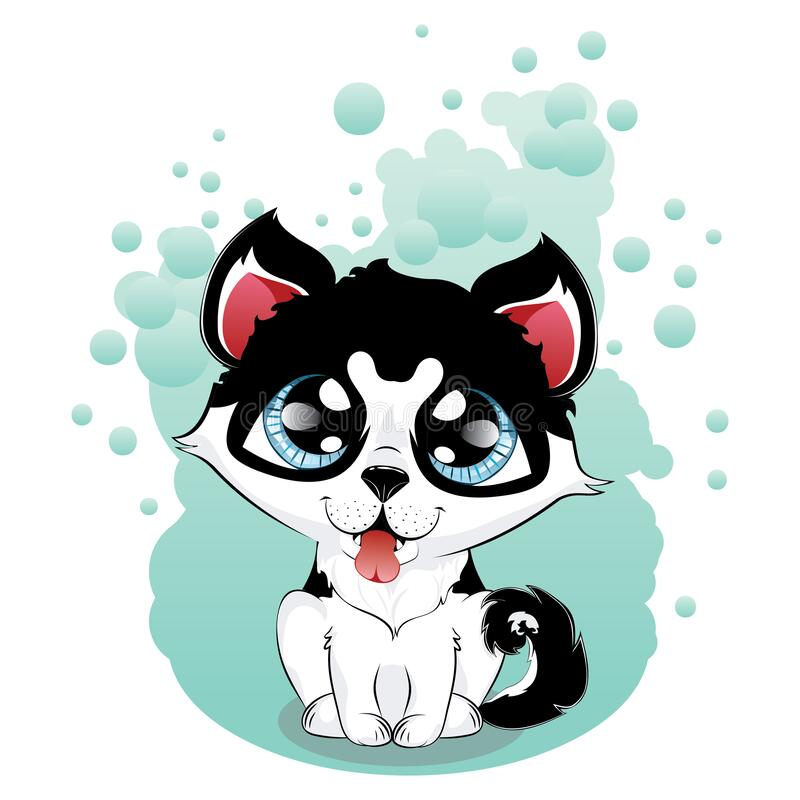 Kawaii husky puppy. Cartoon kawaii puppy husky dog with big blue eyes stock illustration