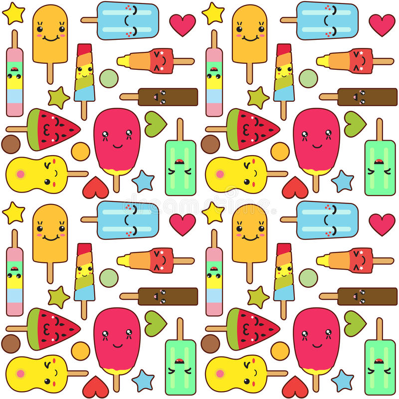 Pattern Cute Colorful Ice Cream Textiles Stock Vector: Kawaii Ice Cream Pattern Stock Illustration. Illustration