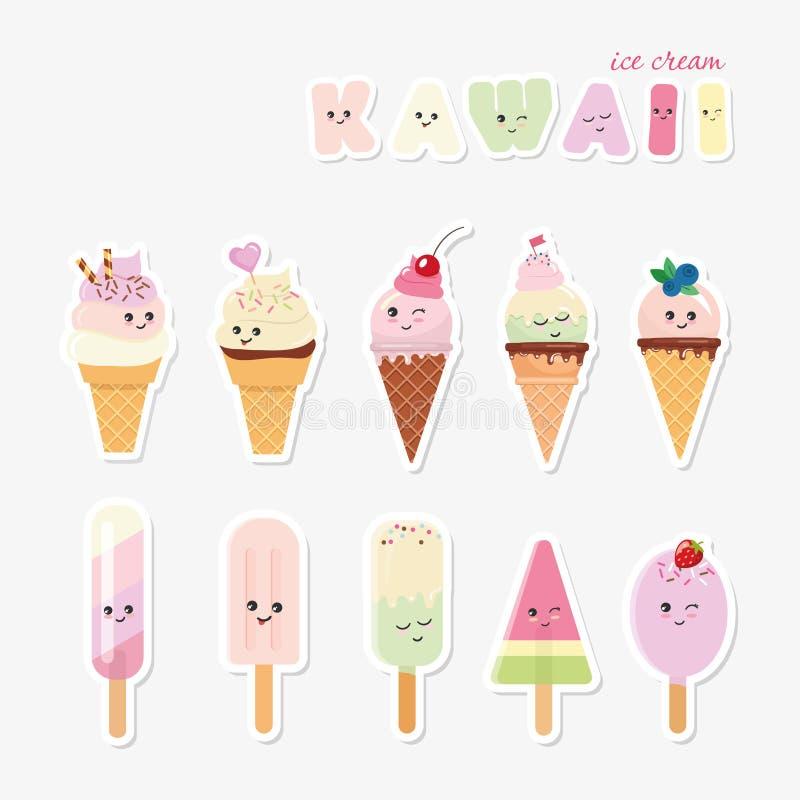 Kawaii ice cream set. Sweets on white. vector illustration