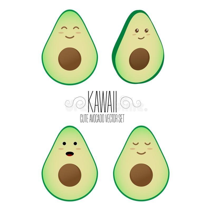 Kawaii isolated avocado template. Cute illustration of an avocados`s friendliness. Hand made adorable background art. Vegetable wa stock illustration