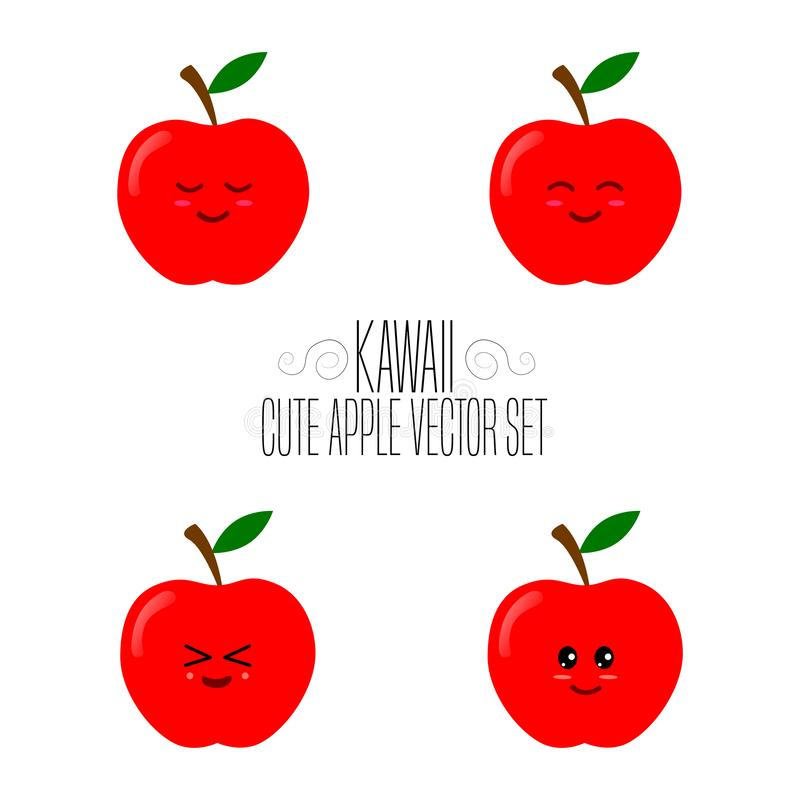 Kawaii isolated red apple template. Cute illustration of an red apple`s friendliness. Hand made adorable background art. Vegetable. Wallpaper royalty free illustration