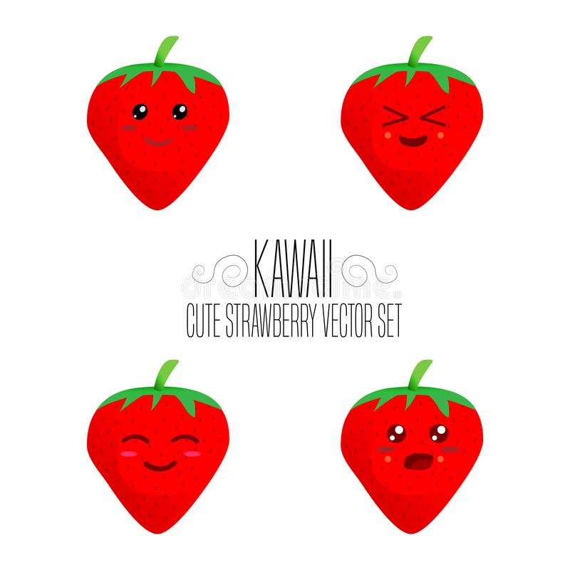 Kawaii isolated strawberry template. Cute illustration of an strawberry`s friendliness. Hand made adorable background art. Vegetab. Le wallpaper vector illustration