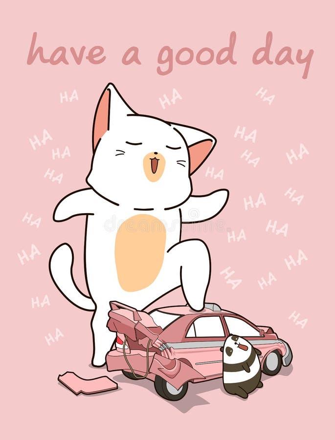 Kawaii jätte- katt med en bruten bil stock illustrationer