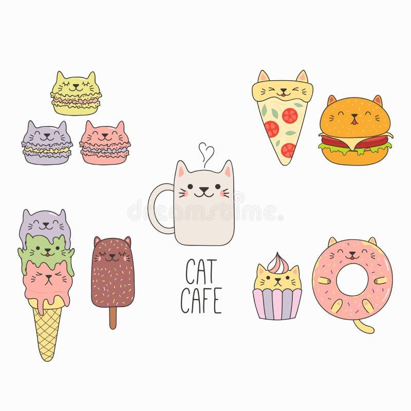 Kawaii jedzenie z kotów ucho ilustracja wektor