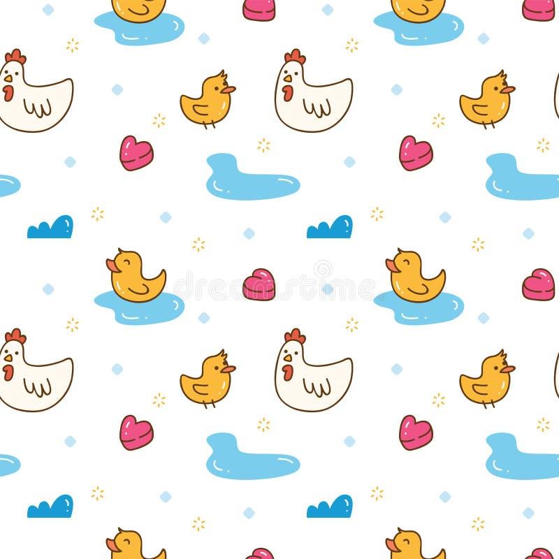 Kawaii kaczki i kurczaka bezszwowy wzór ilustracja wektor