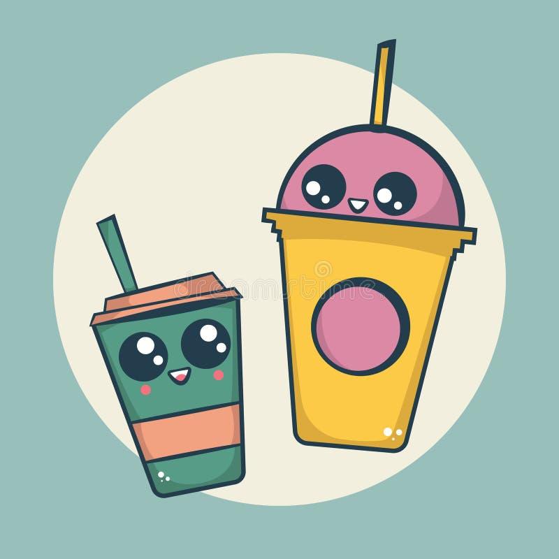 Kawaii-Kaffee-Cappuccino und Frappuccino-Schalen stockbilder