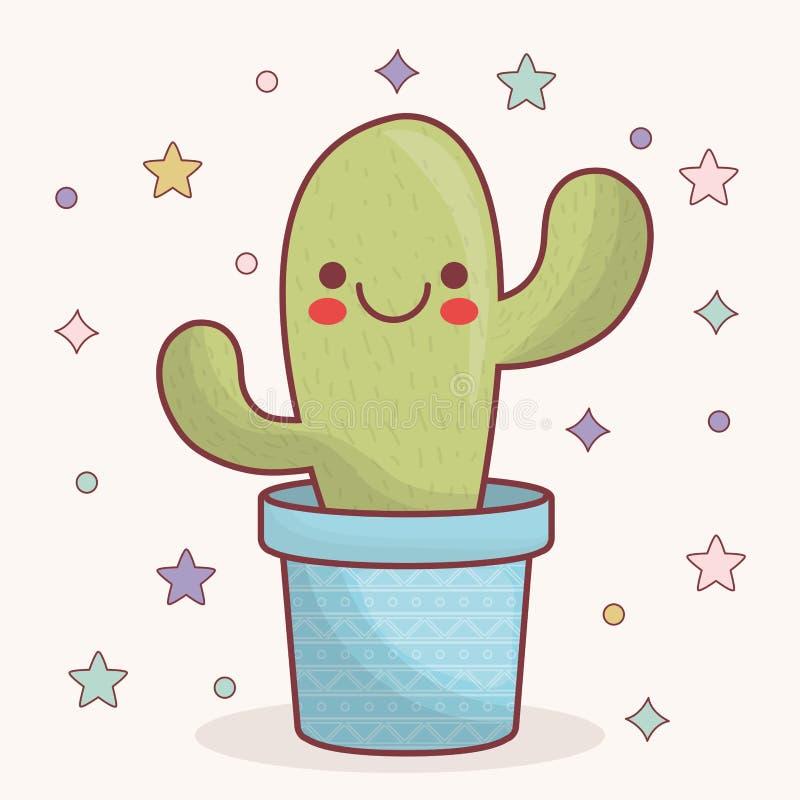 Kawaii kaktusa ikona royalty ilustracja