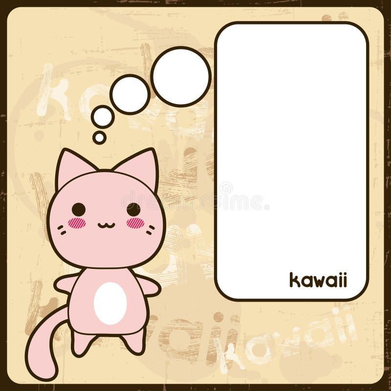 Kawaii karta z ślicznym kotem na grunge tle ilustracji