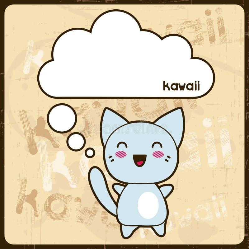 Kawaii-Karte mit netter Katze auf dem Schmutzhintergrund lizenzfreie abbildung