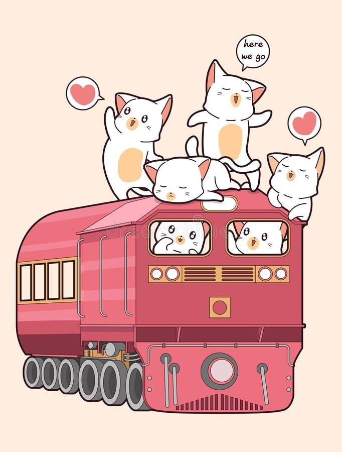 Kawaii katt på drevet royaltyfri illustrationer