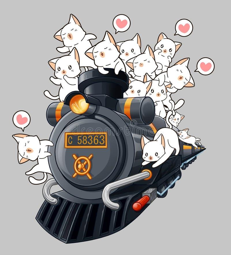 Kawaii katter på lokomotivet vektor illustrationer