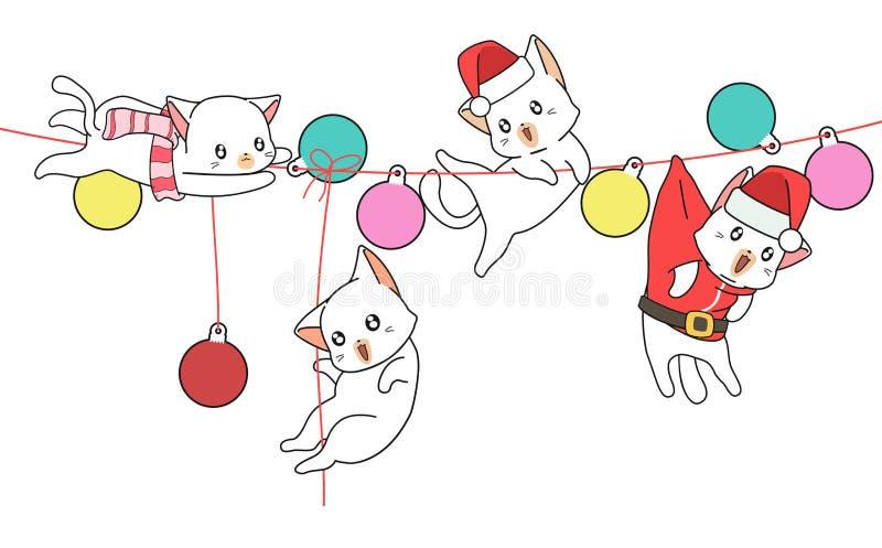 Kawaii-Katzen auf dem Tuch mit Kugeln vektor abbildung