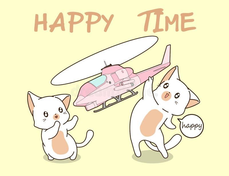 2 kawaii Katzen spielen Hubschrauberspielzeug vektor abbildung