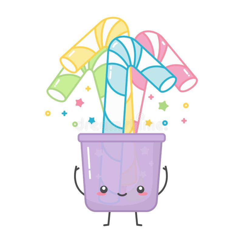 Kawaii kleurrijk document of plastic stro in glas royalty-vrije illustratie