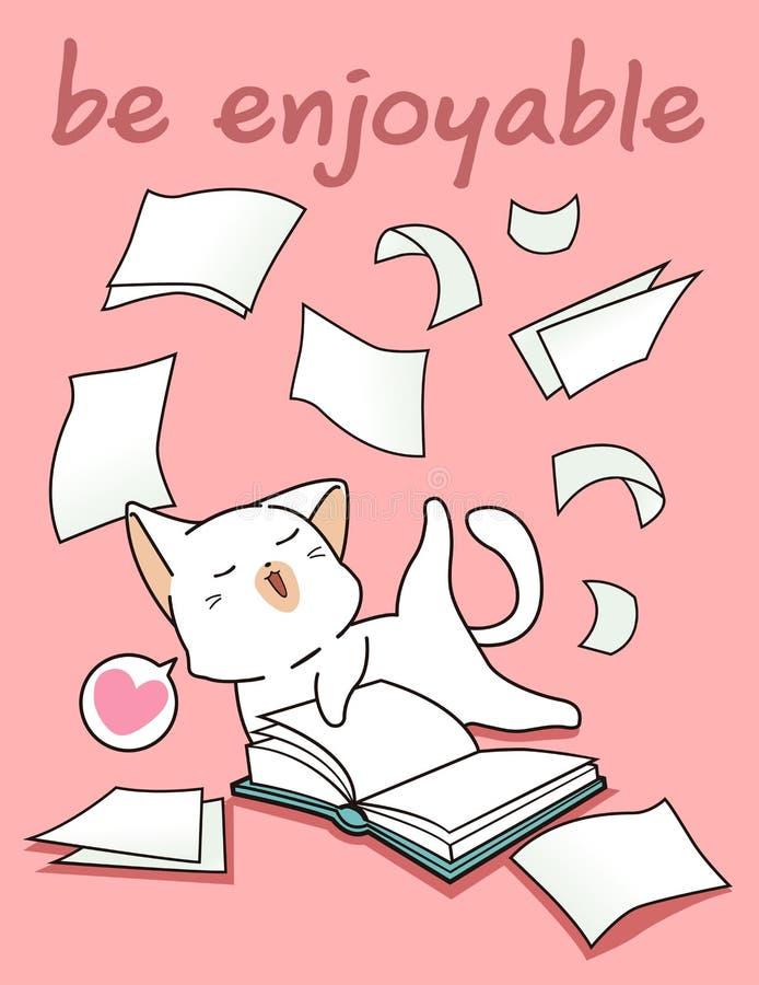 Kawaii kot ma zabawę z książką ilustracja wektor