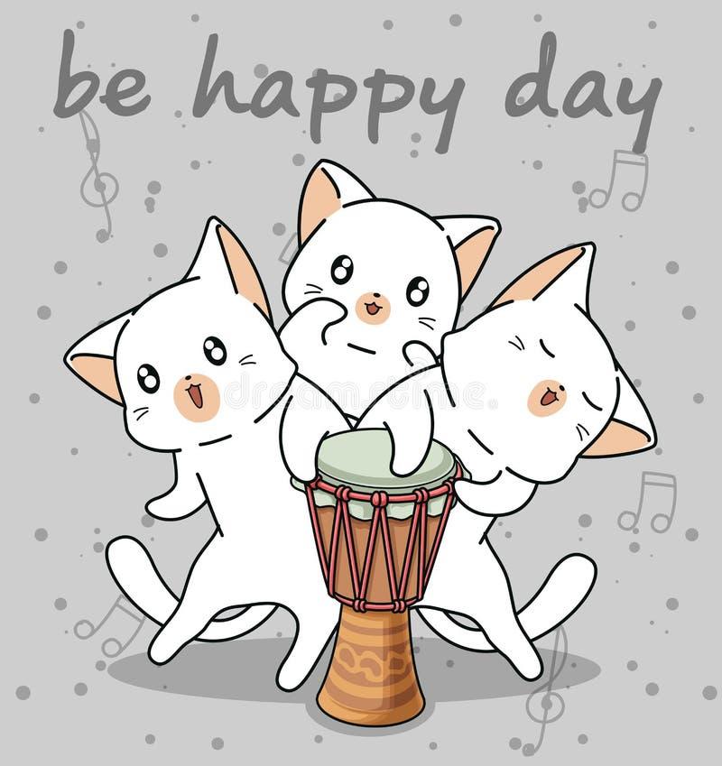 Kawaii kota charaktery z bębenem ilustracji