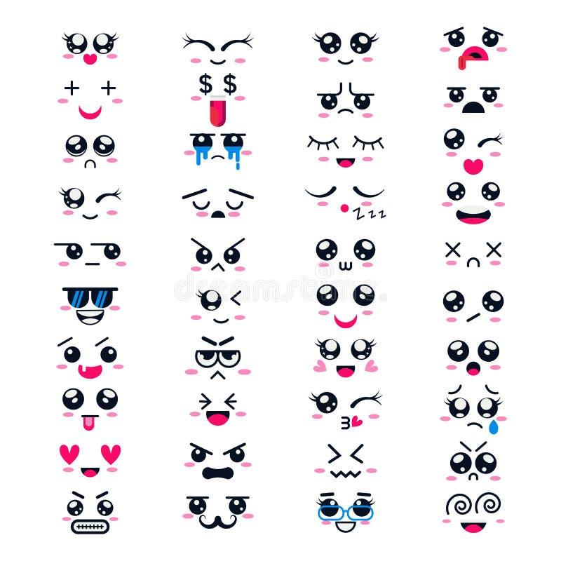 Kawaii kreskówki emoticon wektorowy charakter z różnymi emocjami i twarzy wyrażeniowy inkasowy ilustracyjny emocjonalnym ilustracja wektor