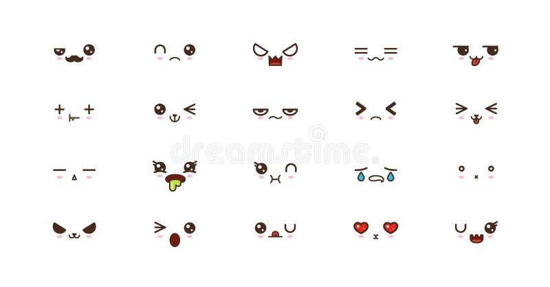 Kawaii ler gulliga framsidor emoticons Japansk emoji vektor illustrationer