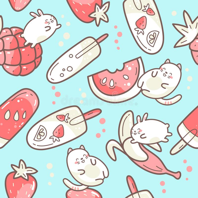 Kawaii leuk naadloos patroon met de zomer zoet voedsel, roomijs, vruchten en grappige karakters die tussen desserts springen vector illustratie