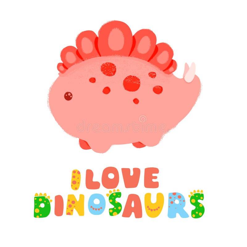 Kawaii literowanie i dinosaur kocham dinosaury również zwrócić corel ilustracji wektora Textured skutka ołówek, akrylowy ilustracji
