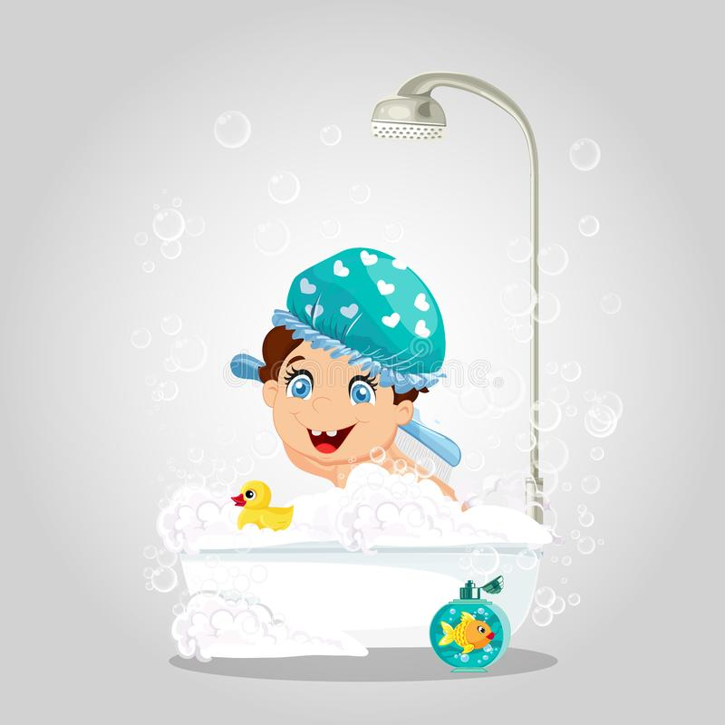 Kawaii Little Boy in Washing Hat Bathing in Shower. Kawaii Little Smiling Boy with Blue Eyes Wearing Blue Washing Hat Playing in Bathtub with Duck Toy and Gold stock illustration