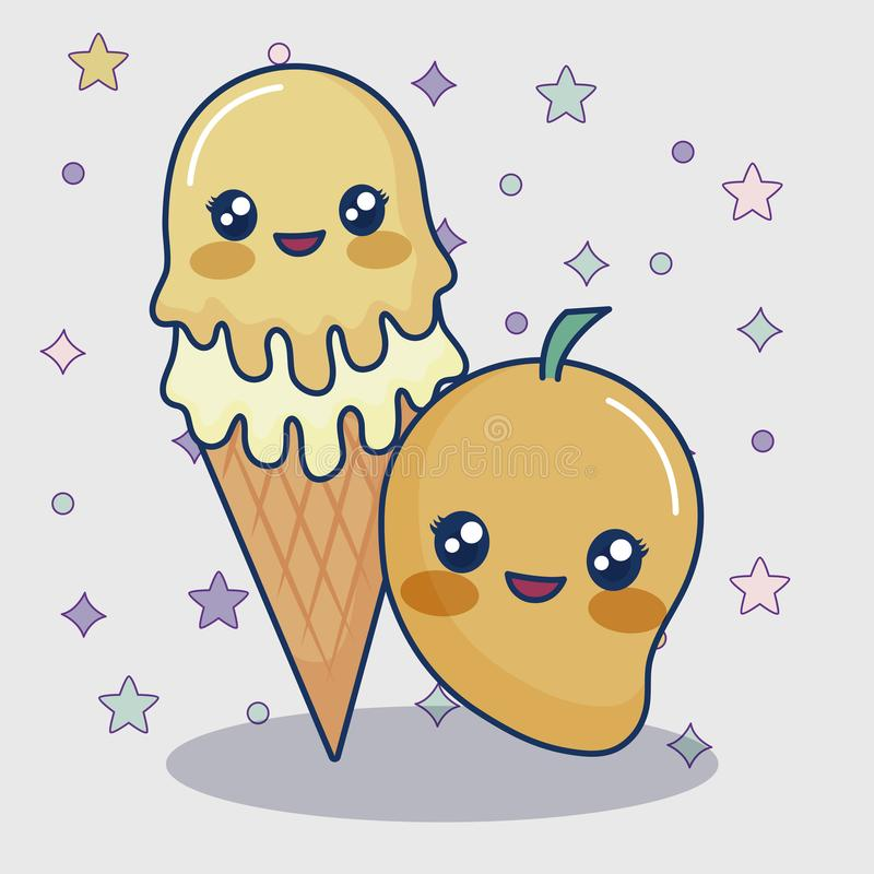 Kawaii mango och glass stock illustrationer