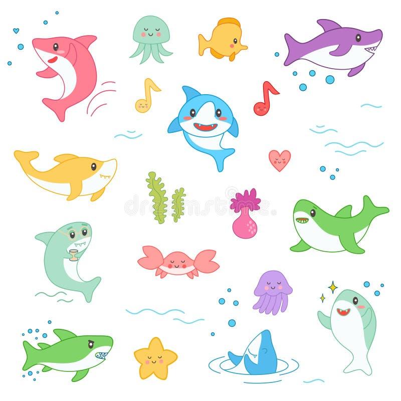 Kawaii Marine Creatures Collection Het grappige Leuke die Karakter van het Vissenbeeldverhaal - voor het Jonge geitjeontwerp van  vector illustratie