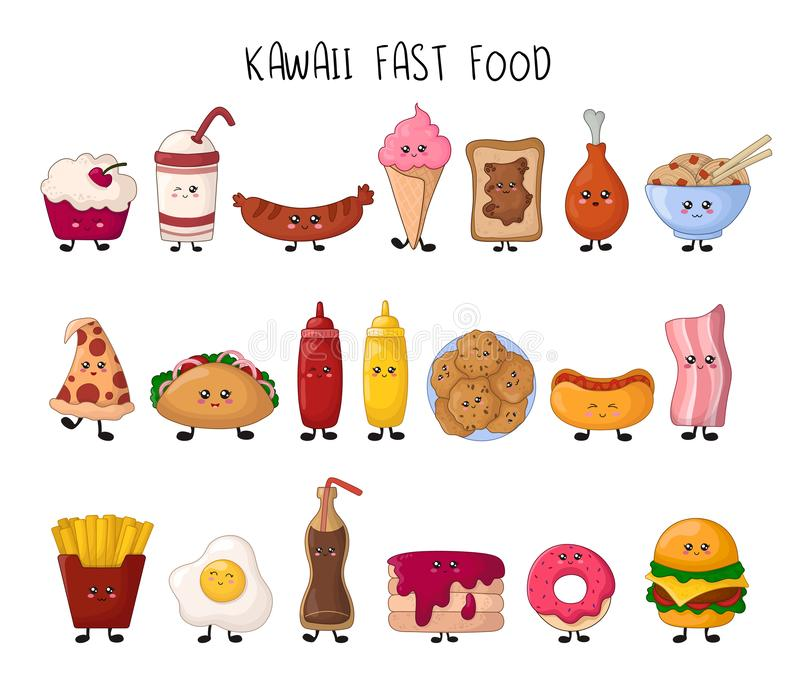 Kawaii matsamling stock illustrationer