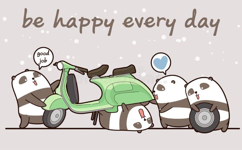 Kawaii mechanic pandas are working vector illustration