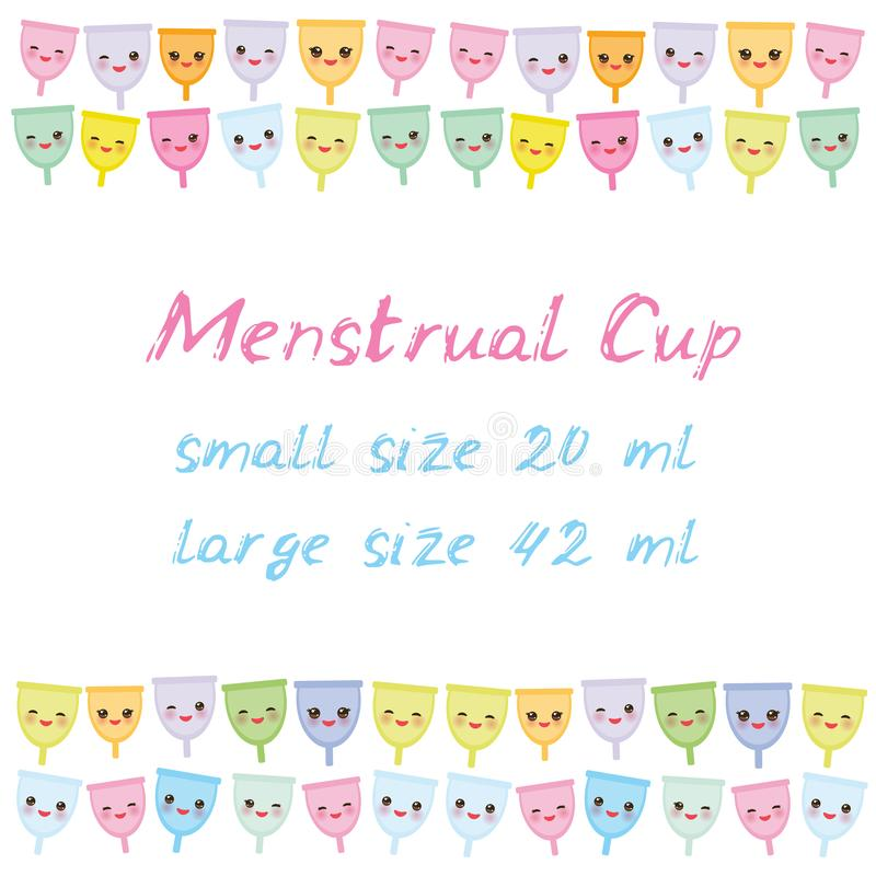 Kawaii menstrual cup is a feminine hygiene product made of flexible medical grade silicone and shaped like a bell, pink cheeks and. Winking eyes, pastel colors stock illustration
