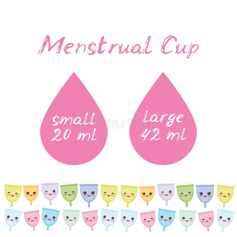 Kawaii menstrual cup is a feminine hygiene product made of flexible medical grade silicone and shaped like a bell, pink cheeks and. Winking eyes, pastel colors vector illustration