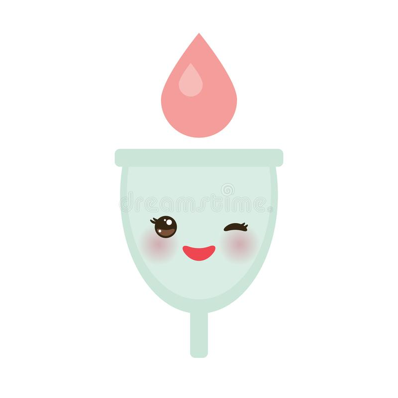 Kawaii menstrual cup is a feminine hygiene product made of flexible medical grade silicone and shaped like a bell, pink cheeks and. Eyes, pastel colors on white royalty free illustration