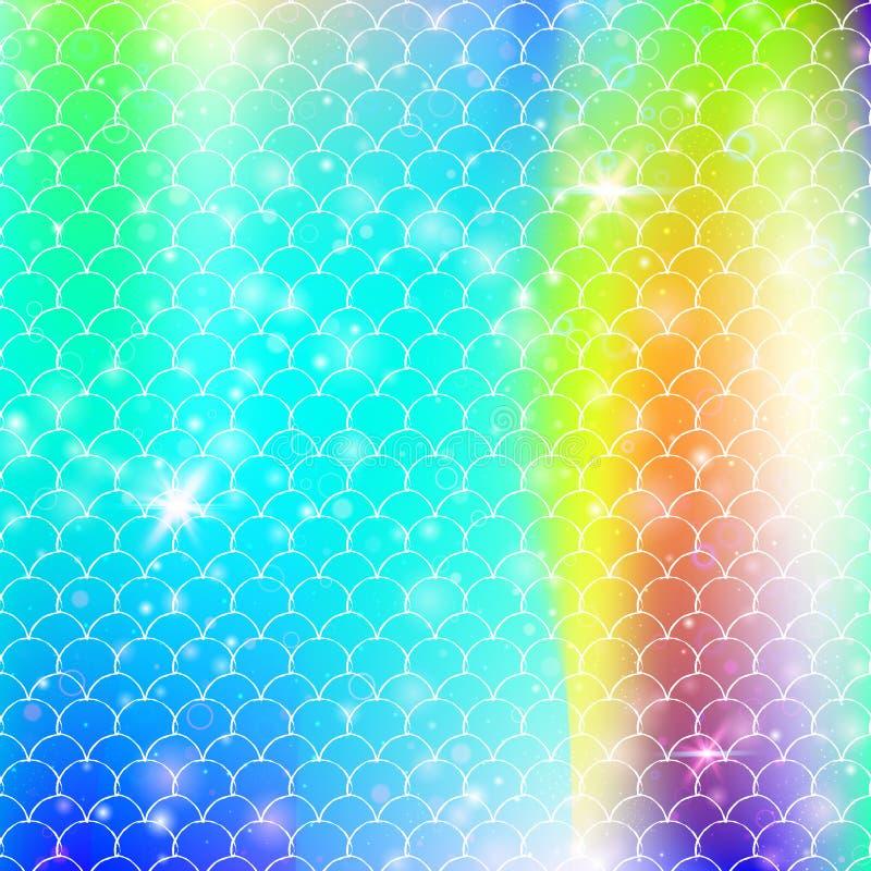 Kawaii mermaid background with princess rainbow scales pattern. stock illustration