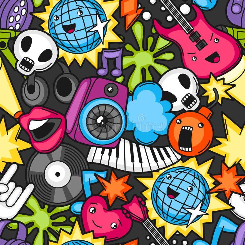 Kawaii naadloos patroon van de muziekpartij Muzikale instrumenten, symbolen en voorwerpen in beeldverhaalstijl royalty-vrije illustratie