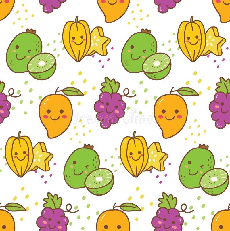 Kawaii owocowy bezszwowy wzór z winogronem, gwiazdową owoc, kiwi, etc royalty ilustracja
