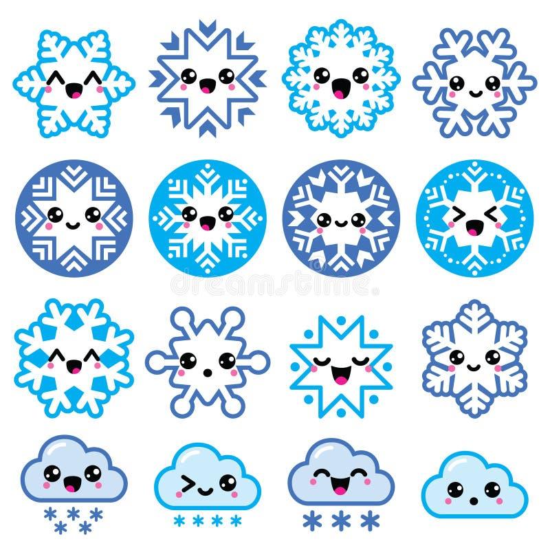 Kawaii płatki śniegu, chmury z śniegiem - boże narodzenia, zim ikony ustawiać ilustracja wektor