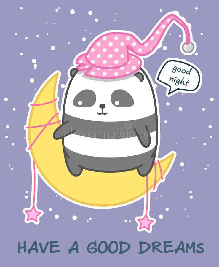 Kawaii Panda auf dem Mond sagt gute Nacht vektor abbildung