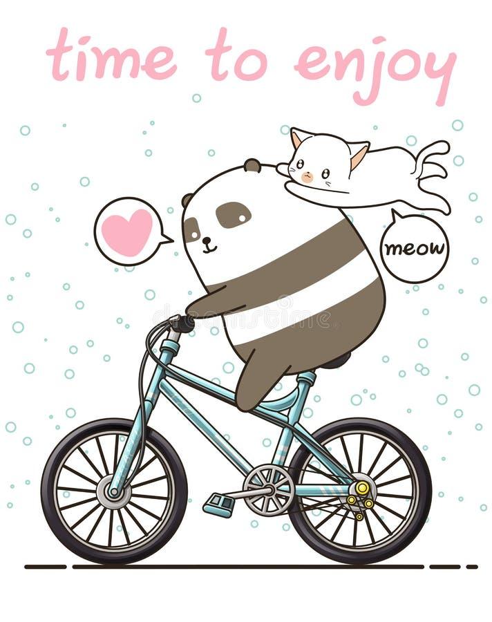 Kawaii-Panda fährt Fahrrad mit einer Katze stock abbildung