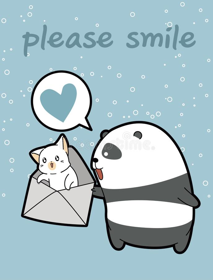 Kawaii-Panda hält Katze im Umschlag lizenzfreie abbildung