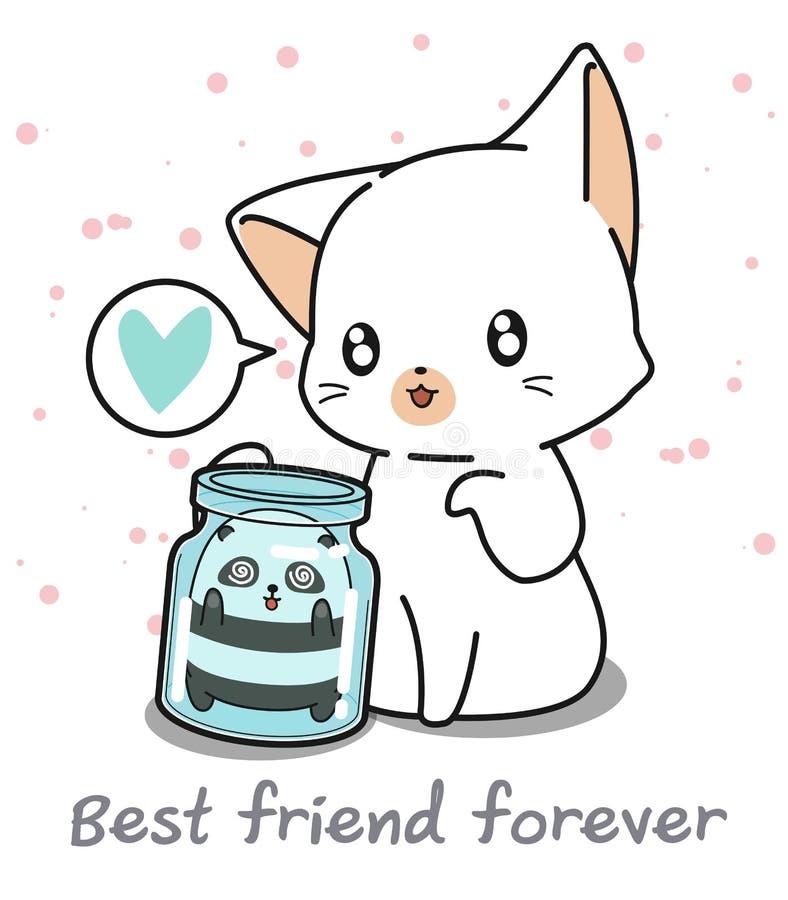 Kawaii panda i flaskan och den jätte- katten royaltyfri illustrationer